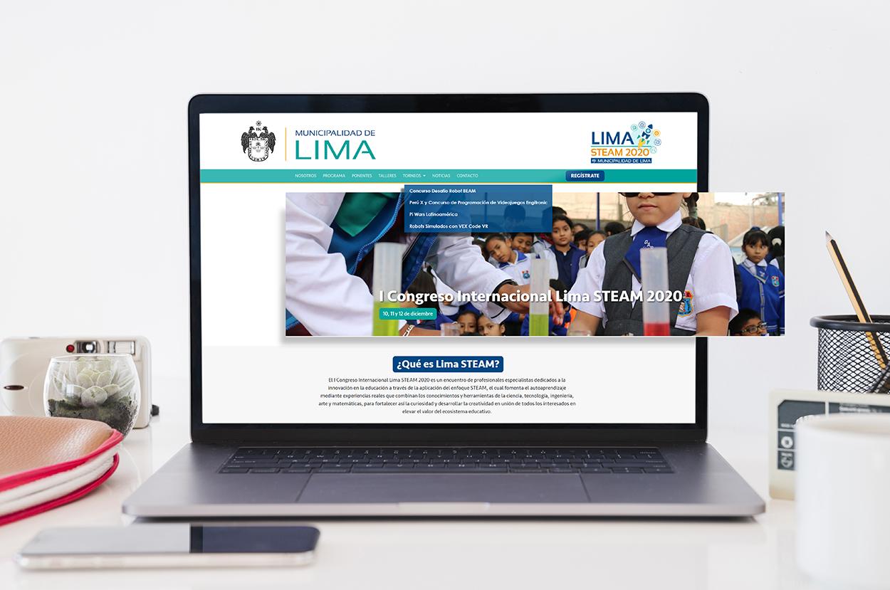 Diseño web Congreso Steam Municipalidad de Lima